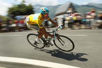 Alberto Contador of Spain wins his third Tour De France