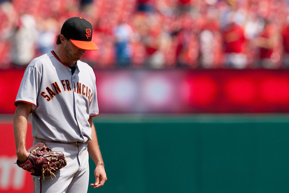 Barry Zito had a rough start wearing Rawlings Heart of the Hide glove.