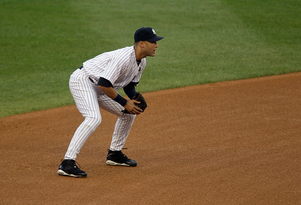 Derek Jeter wearing the Jordan Jeter Throwback PE