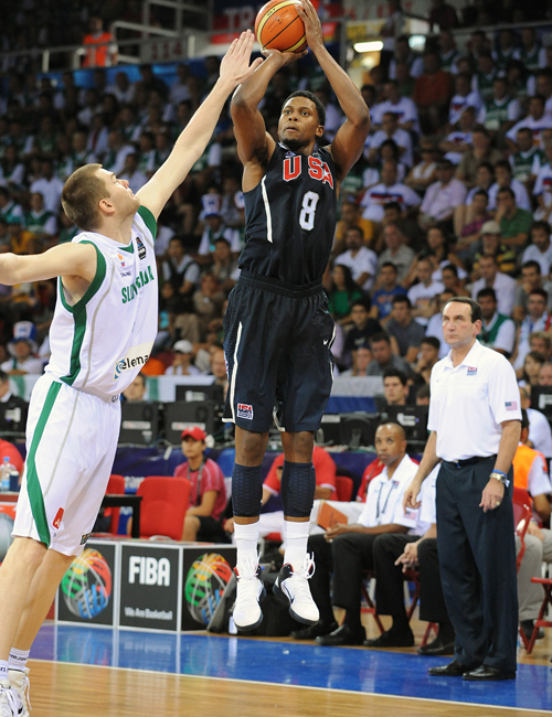 Rudy Gay shoots a jumper in the Nike Zoom Hyperfuse
