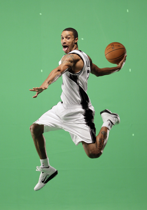 George Hill flying high in the Nike Hyperfuse.