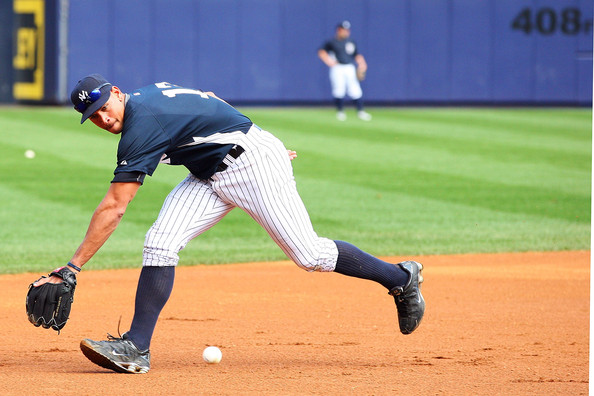 Alex Rodriguez donned some Nike Shox for the Yankees workout Tuesday.
