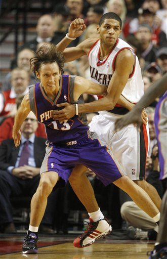 Nicolas Batum wears the adidas Pro Model, and is Steve Nash really trying to post him up?