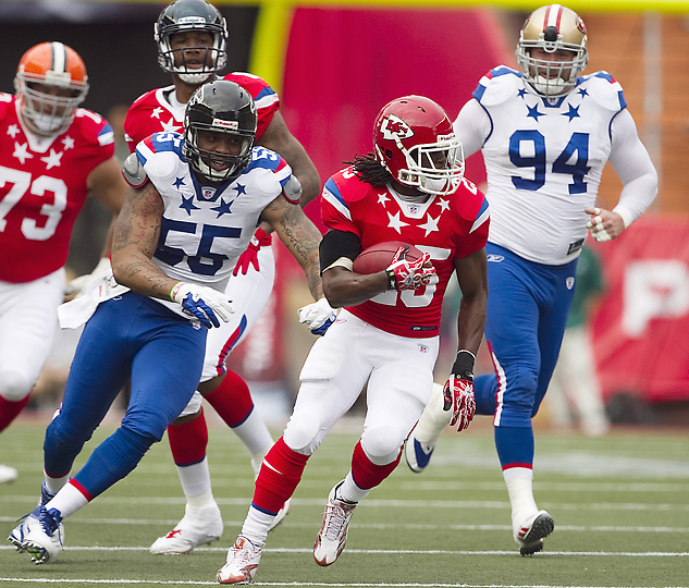 Jamaal Charles wearing the Reebok NFL Molded Burner Speed