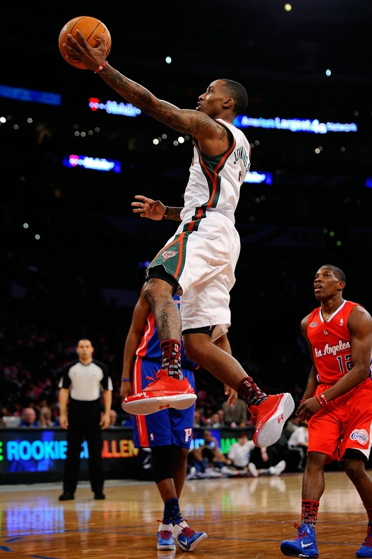 Brandon Jennings wearing the Under Armour Black Ice Low