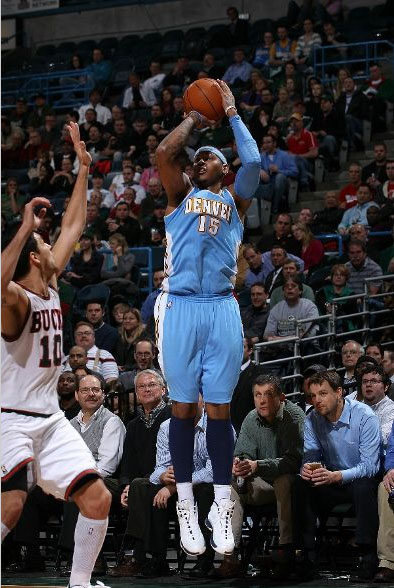 Carmelo Anthony puts in 2 of his 38 points.