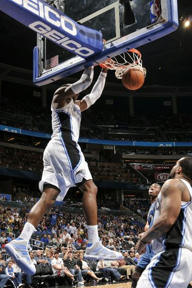 Dwight Howard doing what he does best in the adidas Superbeast.