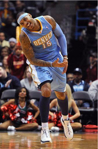 Despite the rumors, Melo seems to be having fun in Denver wearing the Jordan Melo M7.