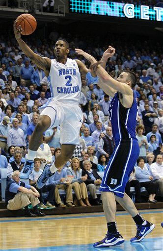 Leslie McDonald of UNC in the Jordan Retro 2 and Miles Plumlee of Duke in the Zoom Kobe V.