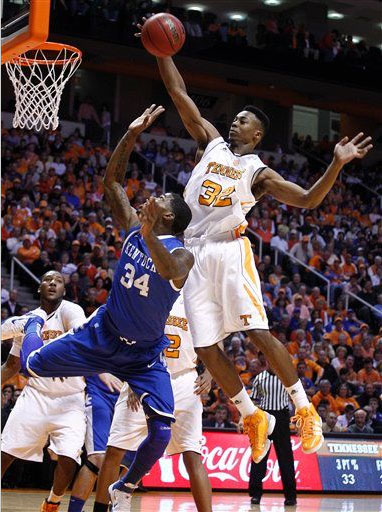 Scotty Hopson of Tennessee with a monster block in the adidas TS Beast PE.
