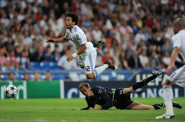 Marcelo of Real Madrid gets tripped up wearing the Nike Superfly.