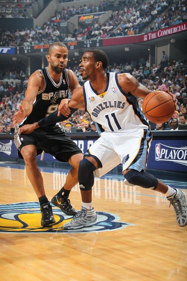 Mike Conley dribbles wearing the adidas Crazy Light.