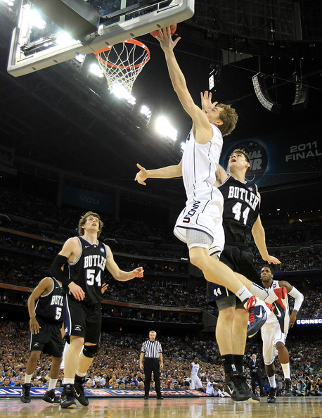 Niels Giffey with a bucket for UCONN in the Air Max Fly By.