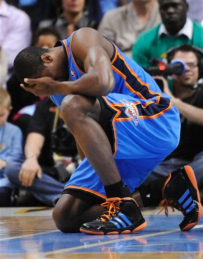 Serge Ibaka wearing the adidas adiPure