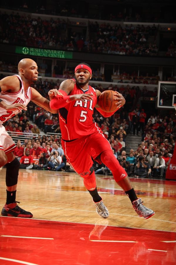 Josh Smith drives down the lane wearing the adidas adiZero Crazy Light.