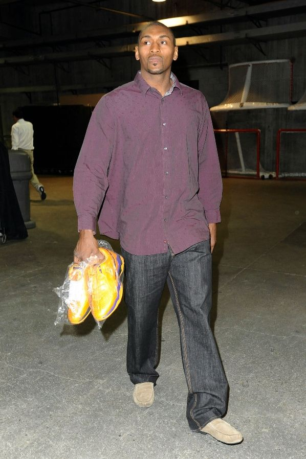 Ron Artest arrives pre-game with a fresh pair of Ball'n sneakers.