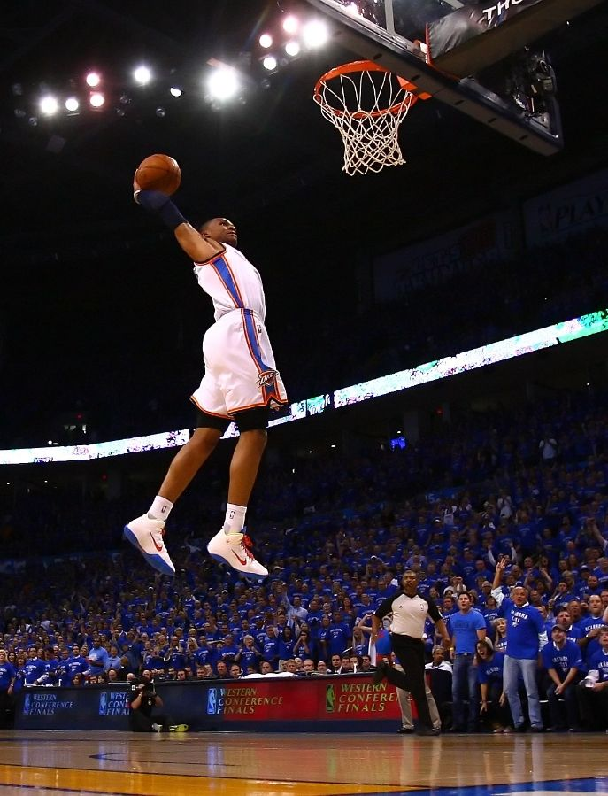 Russell Westbrook with a monster dunk in the Nike Zoom Hyperfuse.