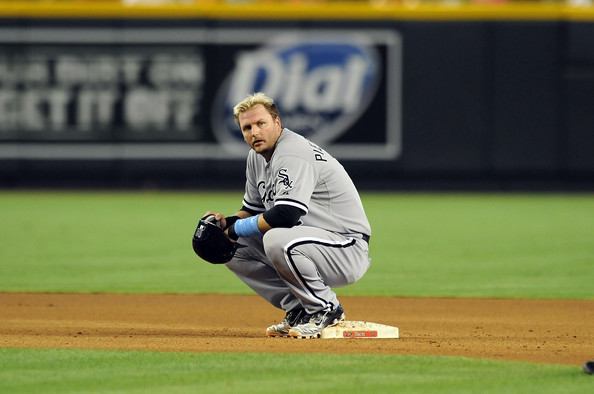 A.J. Pierzynski wearing a pair of PE Nike baseball cleats.