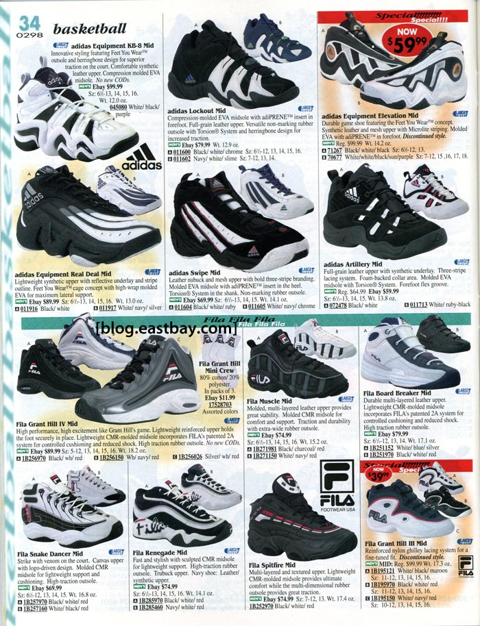 adidas and Fila Basketball Shoes 1998