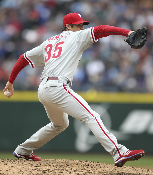 Cole Hamels throws wearing the adidas Diamond King.