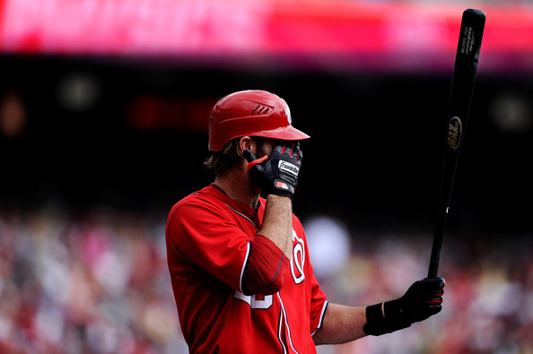 Jayson Werth prepares to bat in Franklin batting gloves.