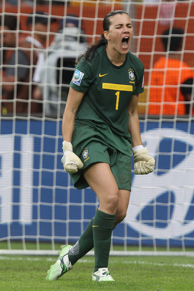 Andreia, goalkeeper for Brazil, wearing PUMA soccer cleats.