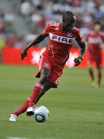 Dominic Oduro of Chicago Fire wearing PUMA soccer cleats.