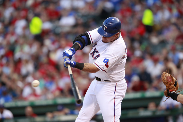 Josh Hamilton shows perfect form wearing Franklin batting gloves.