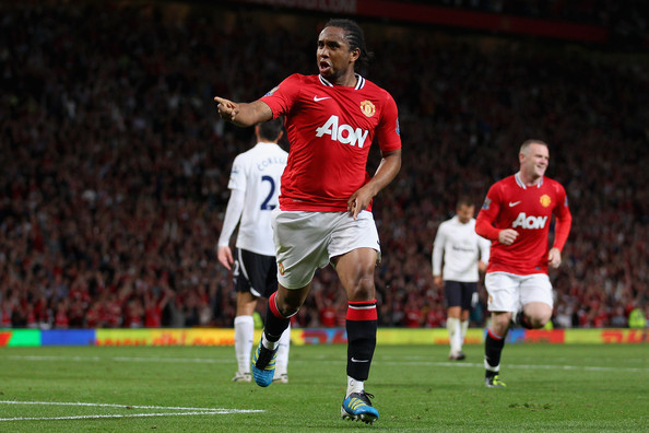 Anderson of Man U celebrates a goal in the adidas adiPower Predator.
