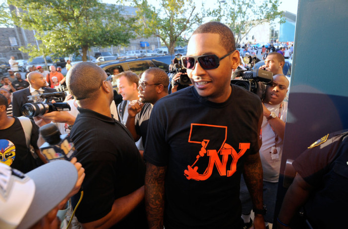 Carmelo Anthony wearing Jordan T Shirt
