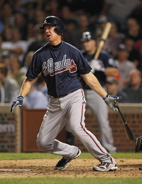 A good look at Chipper Jones' Mizuno baseball cleats.