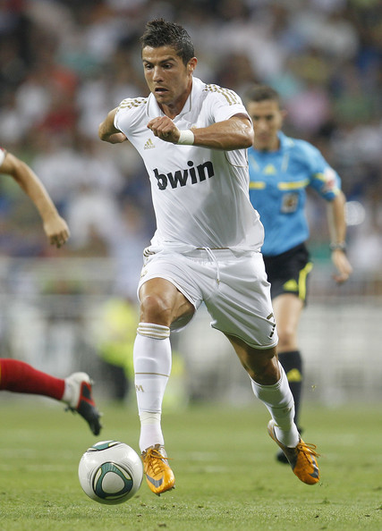 Cristiano Ronaldo makes a run in his signature CR7 boots.