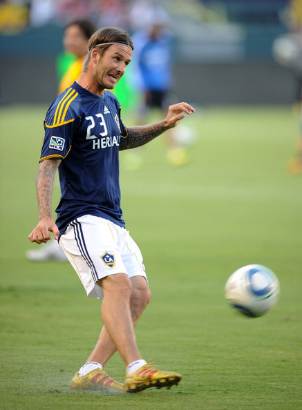 David Beckham of the LA Galaxy in his player exclusive adidas cleats.