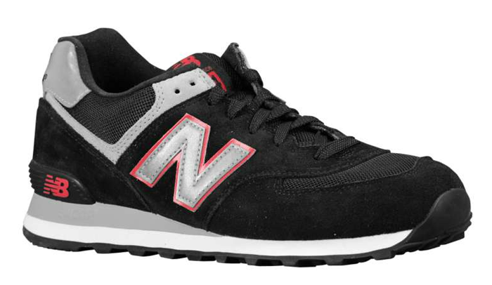 New Balance 574 Suede Black/Silver/Red
