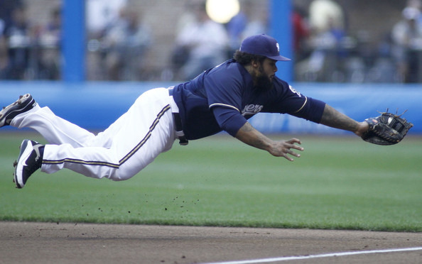 Prince Fielder makes a diving catch in his Nike player exclusives.