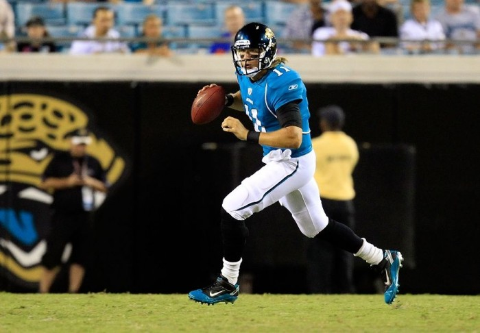 Blaine Gabbert wearing Nike Air LT Superbad vs. Rams