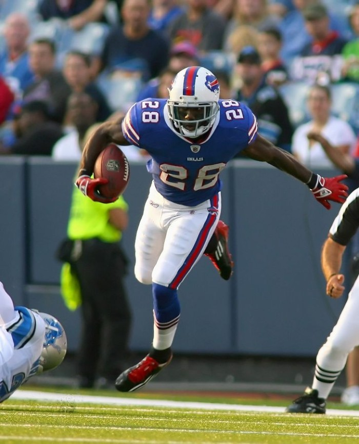CJ Spiller wearing adidas adiZero 5-Star vs. Lions