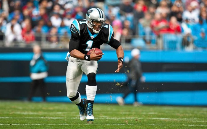 Cam Newton wearing Under Armour CompFit Highlight vs. Tampa Bay Buccaneers
