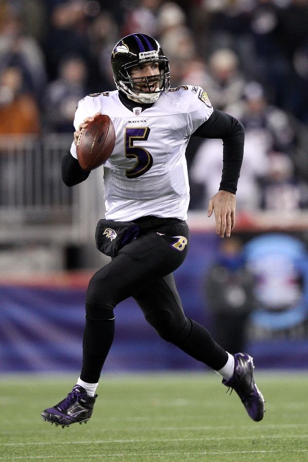 Joe Flacco wearing Reebok NFL U Form 4Speed Mid M4 vs. New England Patriots