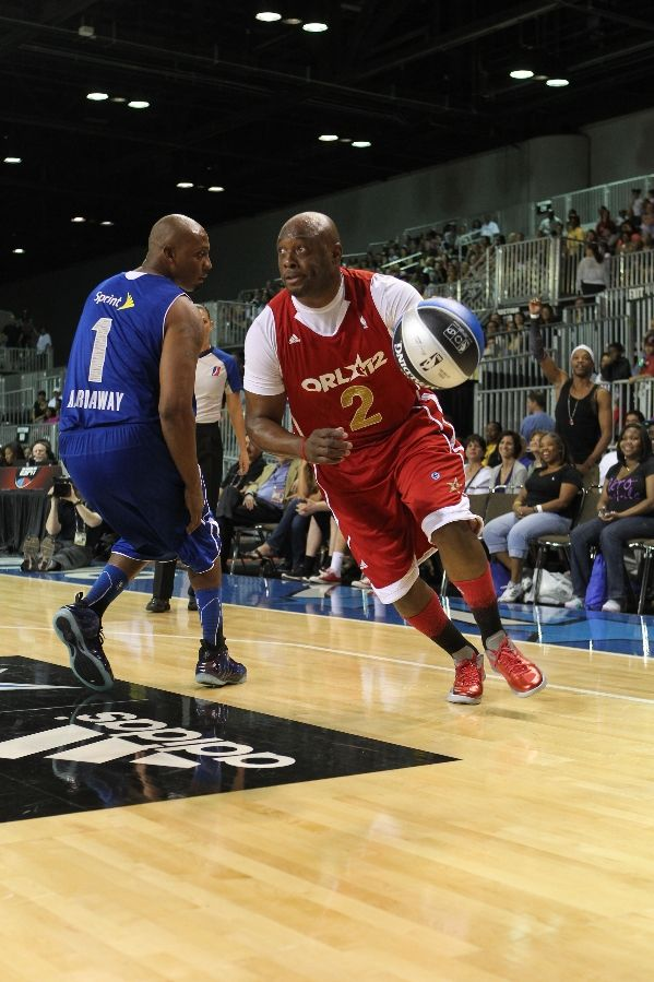 Penny Hardaway wearing Nike Air Foamposite Galaxy Shoes