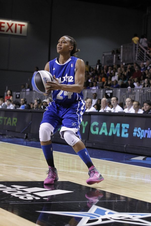 Tamika Catchings wearing Kay Yow Nike Zoom Hyperenforcer