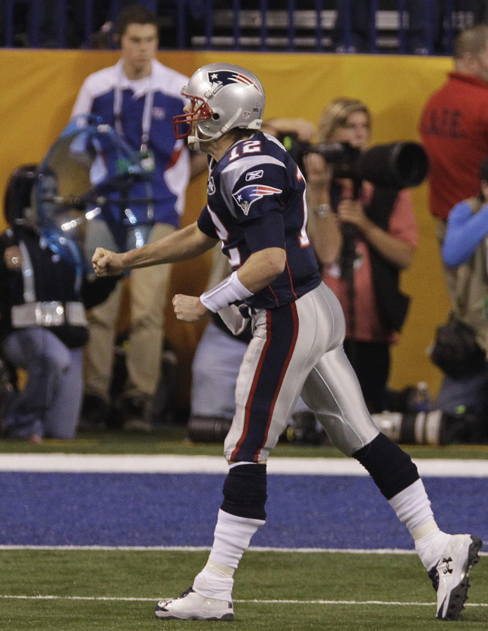 Tom Brady wearing Under Armour Football Cleats in Super Bowl XLVI