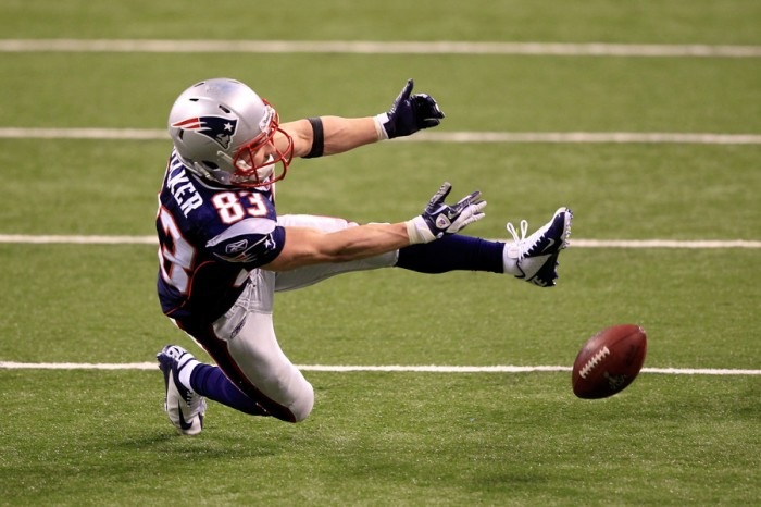 Wes Welker wearing Nike Vapor Talon Elite in Super Bowl XLVI