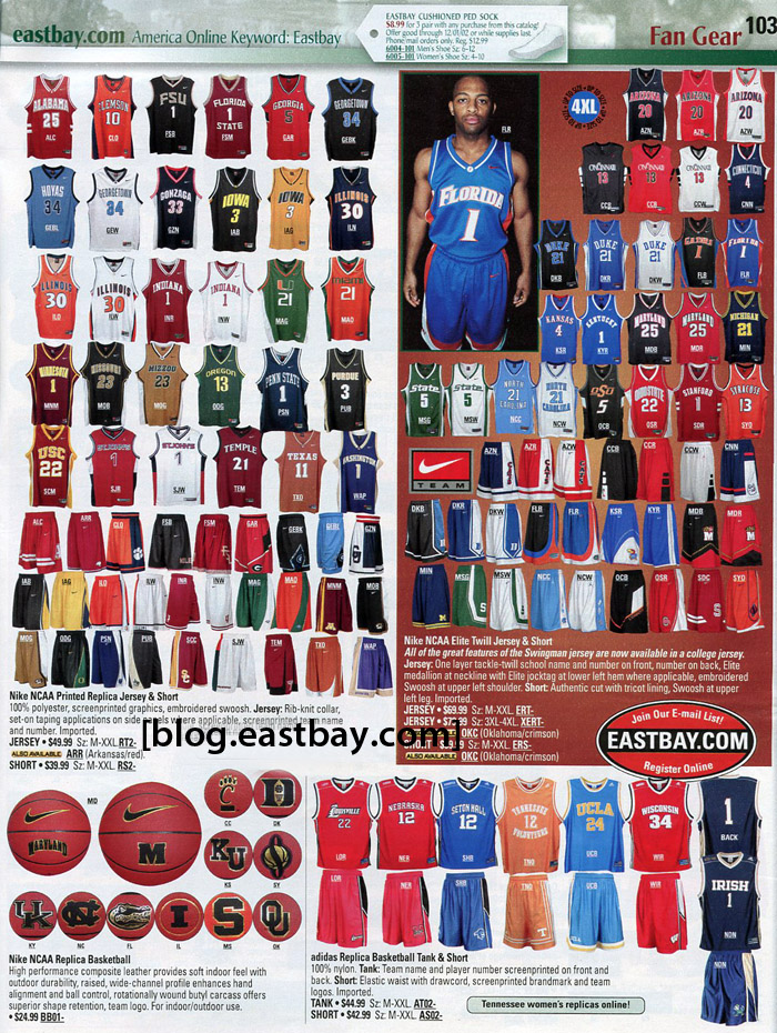 NCAA Uniform Basketball Design Jerseys http://blog.eastbay.com/all/eastbay-memory-lane-2002-ncaa-basketball-uniforms/