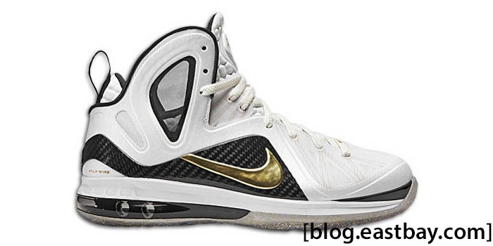 Nike LeBron 9 P.S. Elite Home White Black Metallic Gold 516958-100