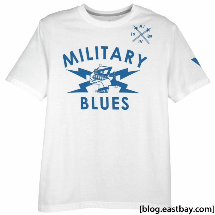 Air Jordan Retro 4 Military Blues Tee White