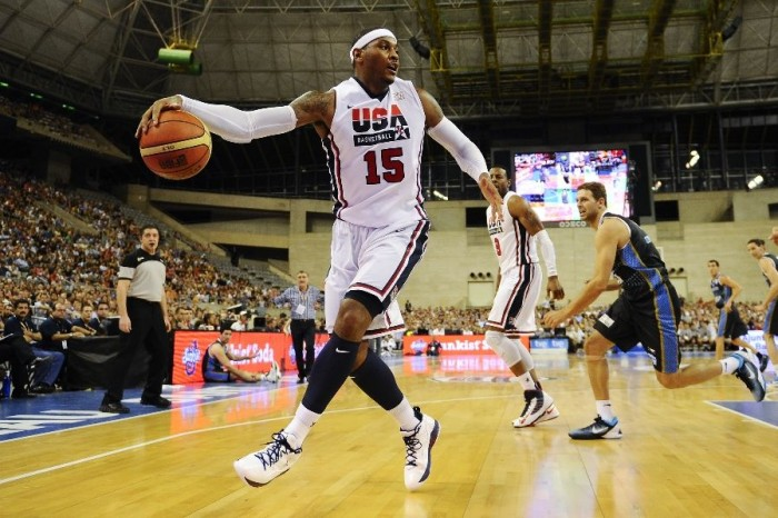 Carmelo Anthony wearing Jordan Melo M8 USA