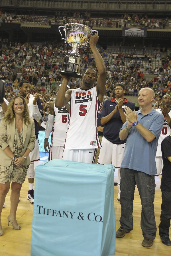 Kevin Durant Holding Player of the Game Trophy