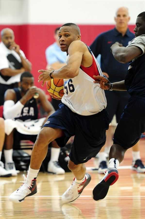Russell Westbrook wearing Nike Zoom Hyperfuse 2010 USA