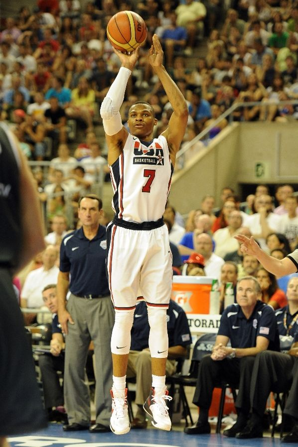 Russell Westbrook wearing Nike Zoom Hyperfuse 2012 USA